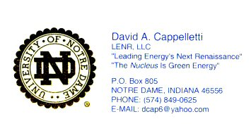 A Professor At Notre Dame Whom Celletti Had Contacted Told New Energy Times That S Business Card